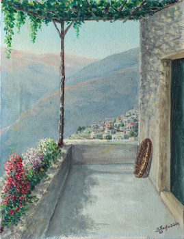 View from a house village, 35 x 27 cm